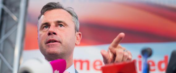 epa05278183 Right-wing Austrian Freedom Party (FPOe) presidential candidate Norbert Hofer attends a press conference in Vienna, Austria, on 26 April 2016. Hofer and presidential candidate and former head of the Austrian Green Party Alexander Van der Bellen achieved the Austrian presidential elections runoff on 22 May 2016. Temporary overall results of the first ballot shows Hofer received 35.05 percent and Van der Bellen 21.34 percent of valid votes.  EPA/CHRISTIAN BRUNA