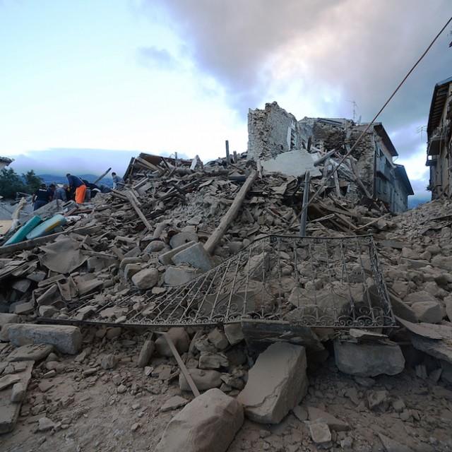 Amatrice, 24 agosto 2016 (FILIPPO MONTEFORTE/AFP/Getty Images)
